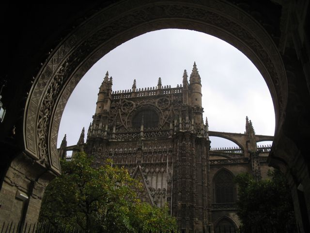 looking through the orange grove at the Seville cathedral