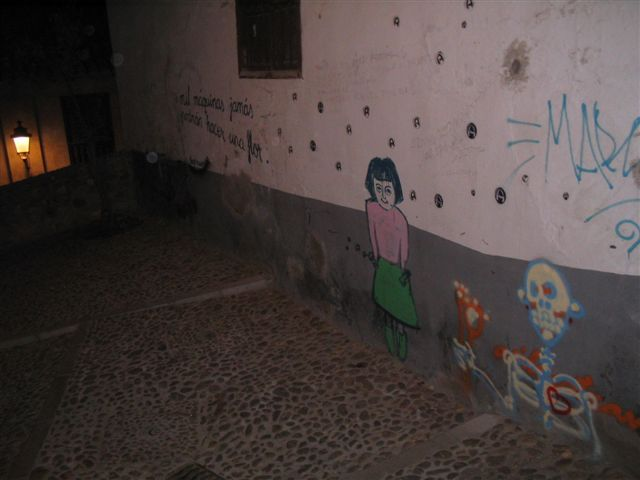 Granada graffiti at night