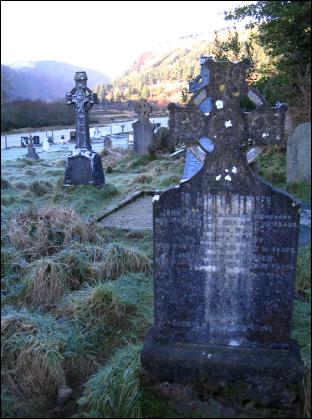 tombstone in Glendalough